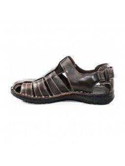 Comprar sandalia cerrada Walk&Fly de hombre, en piel, modelo 541 20910, color marrón TDM, lateral interior