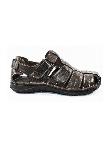 Comprar sandalia cerrada Walk&Fly de hombre, en piel, modelo 541 20910, color marrón TDM, lateral exterior