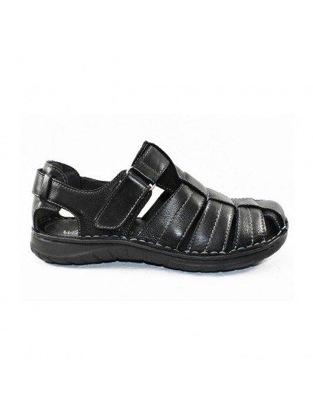 Comprar sandalia cerrada Walk&Fly de hombre, en piel, modelo 541 20910, color negro NERO, lateral exterior