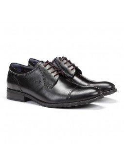 zapato caballero Fluchos, color negro, cordones burdeos, modelo 8412, de piel, vista portada