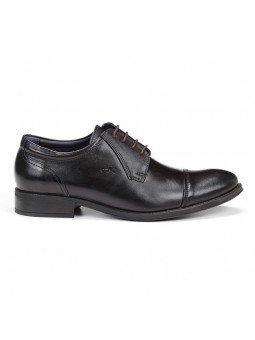 zapato caballero Fluchos, color negro, cordones burdeos, modelo 8412, de piel, vista lateral