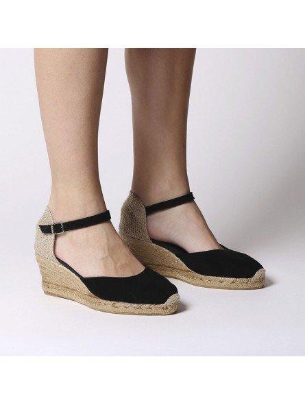 Comprar Online Alpargatas Toni Pons de piel con cuña, modelo Lloret-5, color negro