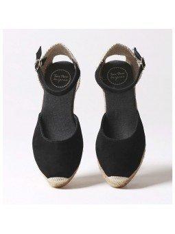 Comprar Online Alpargatas Toni Pons de piel con cuña, modelo Lloret-5, color negro, vista aerea