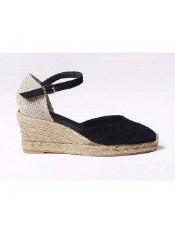 Comprar Online Alpargatas Toni Pons de piel con cuña, modelo Lloret-5, color negro, vista lateral exterior