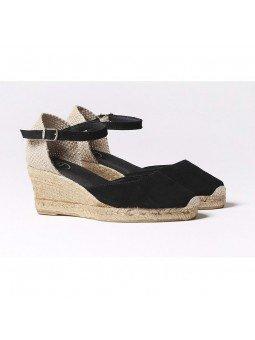 Comprar Online Alpargatas Toni Pons de piel con cuña, modelo Lloret-5, color negro, vista lateral duo
