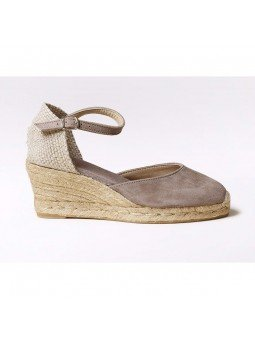 Comprar Online Alpargatas Toni Pons de piel con cuña, modelo Lloret-5, color camel, vista lateral exterior