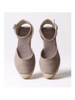 Comprar Online Alpargatas Toni Pons de piel con cuña, modelo Lloret-5, color camel, vista aerea