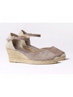 Comprar Online Alpargatas Toni Pons de piel con cuña, modelo Lloret-5, color camel, vista lateral duo