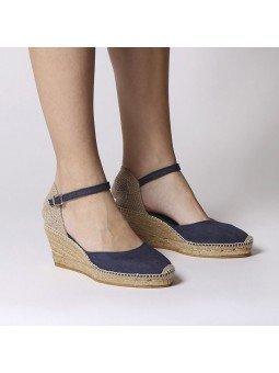 Comprar Online Alpargatas Toni Pons de tejido con cuña, Espadrilles modelo Caldes, color marino