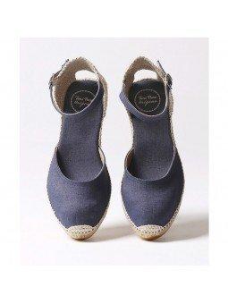 Comprar Online Alpargatas Toni Pons de tejido con cuña, Espadrilles modelo Caldes, color marino, vista aerea