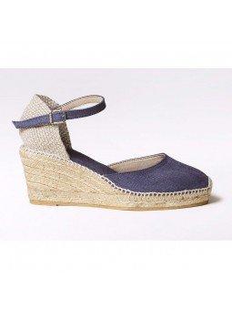 Comprar Online Alpargatas Toni Pons de tejido con cuña, Espadrilles modelo Caldes, color marino, lateral exterior