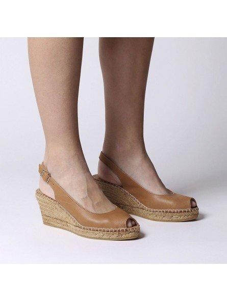Comprar Online Alpargatas Toni Pons de piel con cuña, Espadrilles modelo Croacia, color cuero