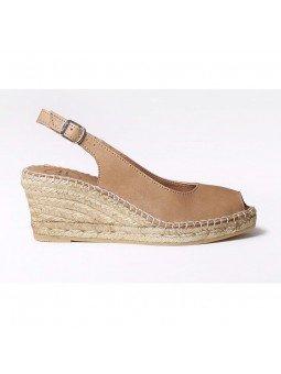 Comprar Online Alpargatas Toni Pons de piel con cuña, Espadrilles modelo Croacia, color cuero, vista lateral exterior