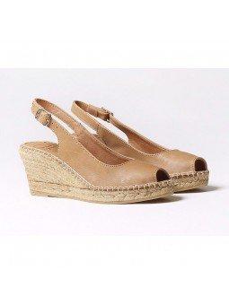 Comprar Online Alpargatas Toni Pons de piel con cuña, Espadrilles modelo Croacia, color cuero, vista lateral duo