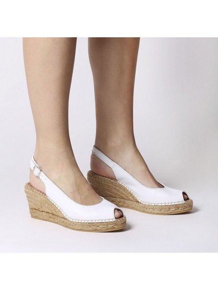 Comprar Online Alpargatas Toni Pons de piel con cuña, Espadrilles modelo Croacia, color blanco