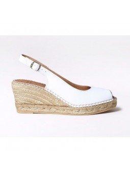 Comprar Online Alpargatas Toni Pons de piel con cuña, Espadrilles modelo Croacia, color blanco, vista lateral exterior