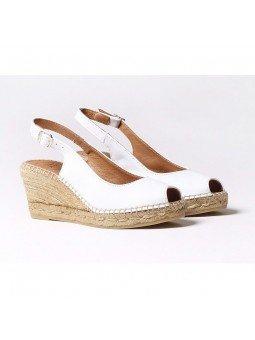 Comprar Online Alpargatas Toni Pons de piel con cuña, Espadrilles modelo Croacia, color blanco, vista lateral duo