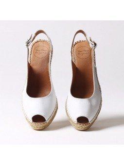 Comprar Online Alpargatas Toni Pons de piel con cuña, Espadrilles modelo Croacia, color blanco, vista aerea