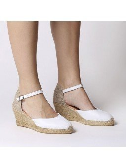 Comprar Online Alpargatas Toni Pons de piel con cuña, Espadrilles modelo Costa-5, color blanco