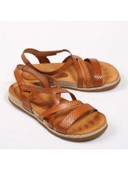 Comprar Online Sandalia plana Yokono Shoes, modelo Chipre 100, color nuez, vista duo lateral exterior