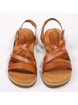 Comprar Online Sandalia plana Yokono Shoes, modelo Chipre 100, color nuez, vista aerea