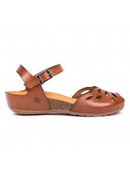 Comprar online sandalia Yokono Shoes, modelo capri 003, color nuez, vista lateral exterior