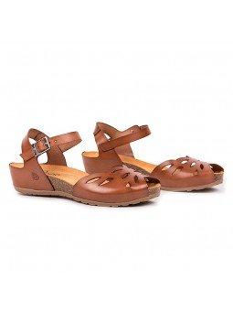 Comprar online sandalia Yokono Shoes, modelo capri 003, color nuez, vista duo lateral
