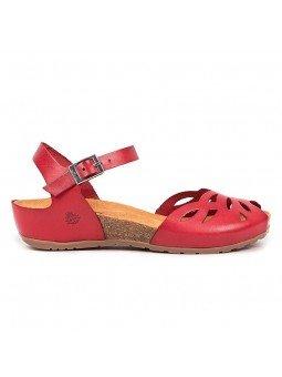 Comprar online sandalia Yokono Shoes, modelo capri 003, color rojo, lateral exterior