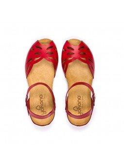 Comprar online sandalia Yokono Shoes, modelo capri 003, color rojo, vista aerea