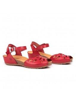 Comprar online sandalia Yokono Shoes, modelo capri 003, color rojo, vista duo lateral