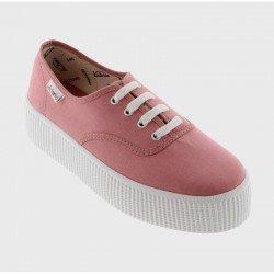 Comprar Online Zapatillas Victoria clásicas, Ingesas con cordón y plataforma 4 centímetros, modelo 116100, color nude