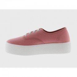 Comprar Online Zapatillas Victoria clásicas, Ingesas con cordón y plataforma, modelo 116100, color nude, lateral interior
