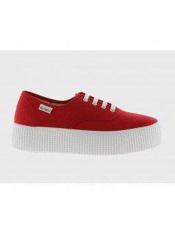 Comprar Online Zapatillas Victoria con plataforma, de algodón orgánico y con cordón, modelo 116100, color rojo, lateral exterior
