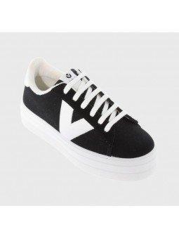 Comprar Online Zapatillas Deportivas Victoria con plataforma, modelo 92125, color negro
