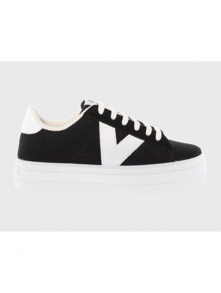 Comprar Online Zapatillas Deportivas Victoria con plataforma, modelo 92125, color negro, vista lateral exterior