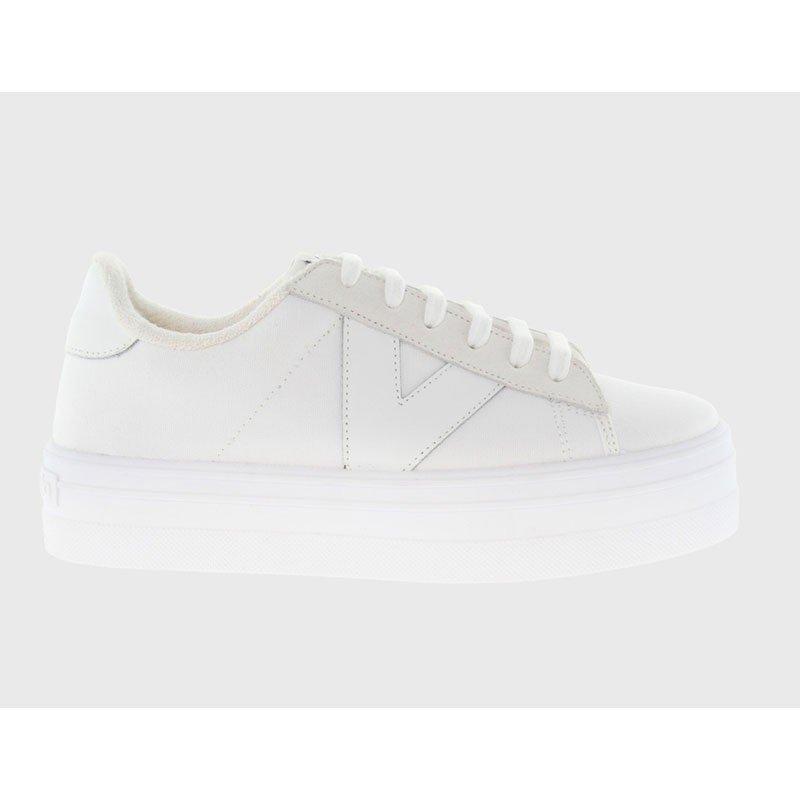Comprar Online Zapatillas Deportivas Victoria con plataforma, modelo 92125, color blanco, vista lateral exterior