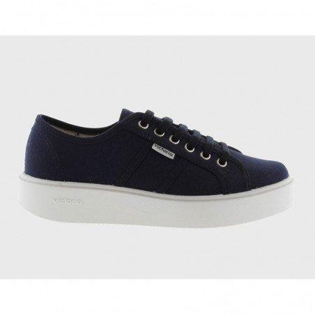 Comprar Online Zapatillas Victoria con plataforma, modelo 260110, color marino, lateral exterior