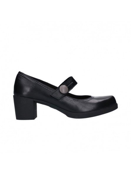 Comprar Online Zapatos Yokono Shoes con tacon ancho, en goma, modelo Dana 010, color negro, vista lateral exterior