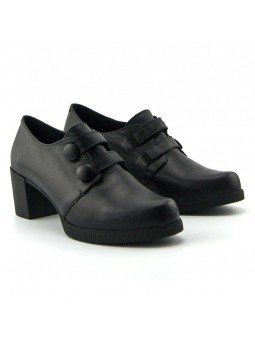 Comprar Online Zapatos Yokono Shoes con tacon ancho, modelo Dana 008, color negro, vista frontal