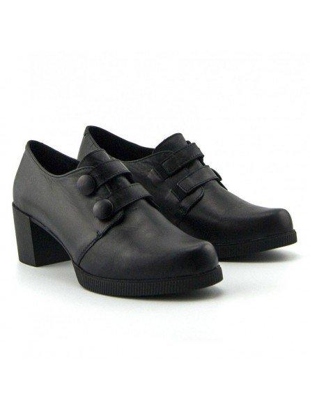 Comprar Online Zapatos Yokono Shoes con tacon ancho, modelo Dana 008, color negro, vista frontal