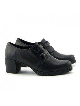 Comprar Online Zapatos Yokono Shoes con tacon ancho, modelo Dana 008, color negro, vista lateral exterior