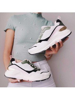 Deportivas Skechers Street Los Angeles Rovina Chic Shattering, modelo 155011, color blanco OFPK, vista duo de pie