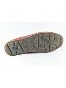 Comprar Online Zapato tipo Mocasín Evoke Fluchos, modelo F0424, color terracota rojo, vista de la suela