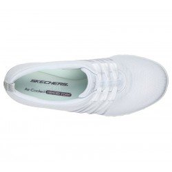 Comprar Online mocasín deportivo Skechers Relaxed Fit Breathe Easy, modelo 100000, color blanco WHT, vista aerea