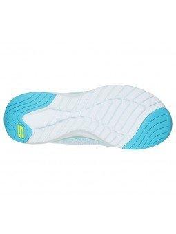 Comprar Online Zapatillas Skechers Ultra Groove, modelo 149019, color blanco WTQL, vista portada, vista de la suela