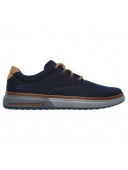 Comprar Online Zapatos casual Skechers Classic Fit Folten Verone, modelo 65370, color marino NVY, vista lateral exterior
