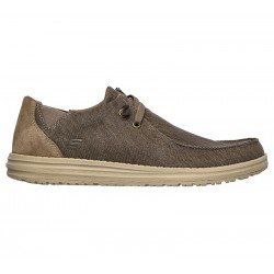 Comprar Online Zapatos Skechers Relaxed Fit Melson Raymon tipo mocasín, color caqui KHK, modelo 66387, vista lateral exterior
