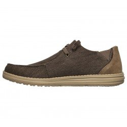 Comprar Online Zapatos Skechers Relaxed Fit Melson Raymon tipo mocasín, color caqui KHK, modelo 66387, vista lateral interior
