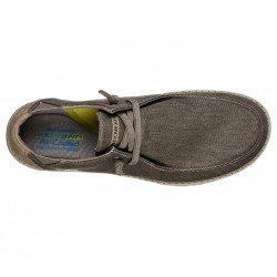 Comprar Online Zapatos Skechers Relaxed Fit Melson Raymon tipo mocasín, color caqui KHK, modelo 66387, vista lateral aerea