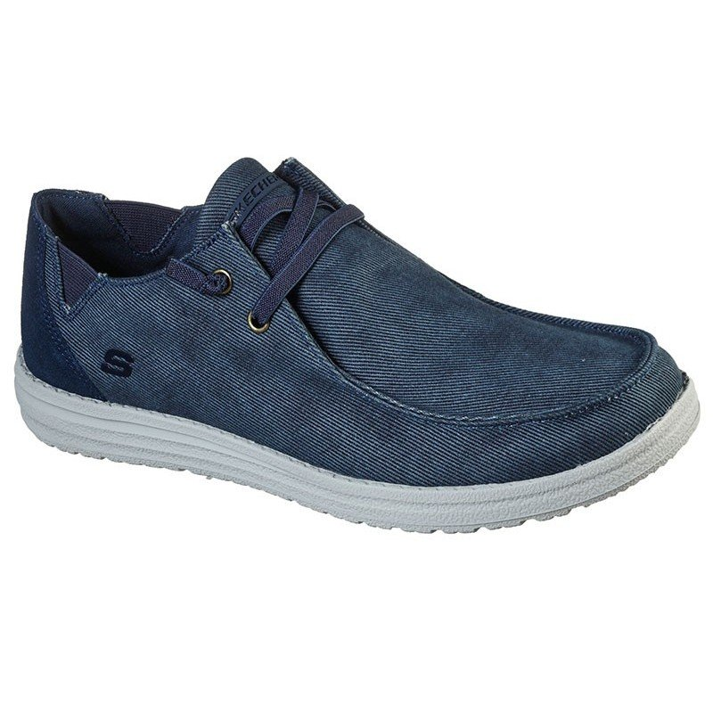 Comprar Online Zapatos Skechers Relaxed Fit Streetwear Melson Raymon tipo mocasín, color azul BLU, modelo 66387
